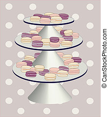 Macaroon plate - A vector illustration of plate with...