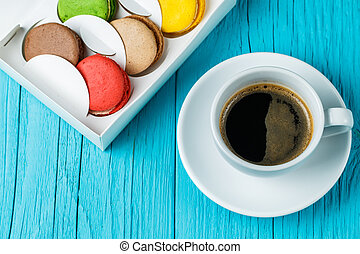Macaroon with cup of coffee
