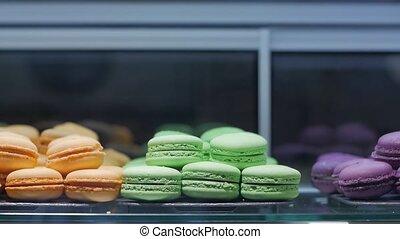 Macaroons bakery closeup colored sweet shop