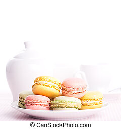 Colourful macaroons on the plate