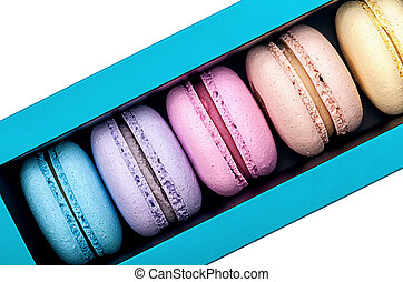 Macaroons in box top view