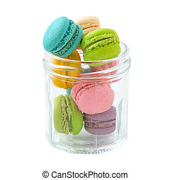 Macaroons in glass bottle isolated on white