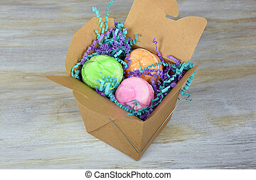 macaroons in take out box
