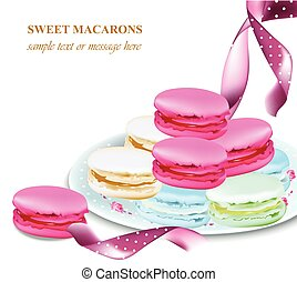 macaroons on a plate. Colorful dessert Vector realistic illustration