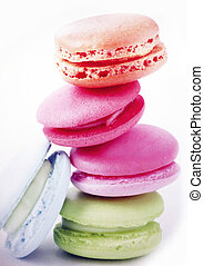 Macaroons - Pile of colored macaroons closeup.
