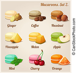 Macaroons. Set 2. - Colorful cookies with different flavors...