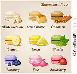 Macaroons. Set 3. - Colorful cookies with different flavors...