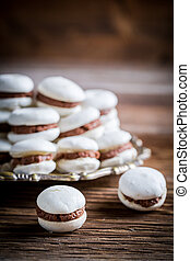 Macaroons with nut and chocolate filling
