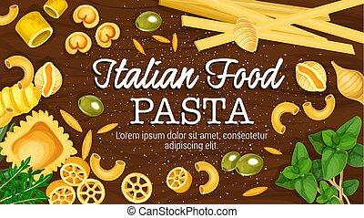 macarronada, cartaz, vetorial, tábua, italiano