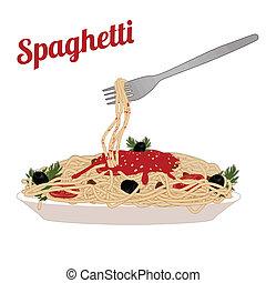 macarronada, espaguete, italiano