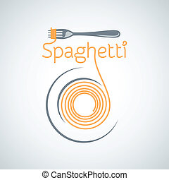 macarronada, fundo, garfo, espaguete, prato