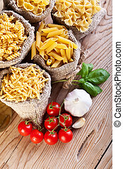 macarronada, variedade, e, específico, cozinhando ingredientes