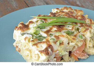 macarrones, queso, cocido al horno