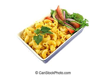 macarrones, queso, y, ensalada