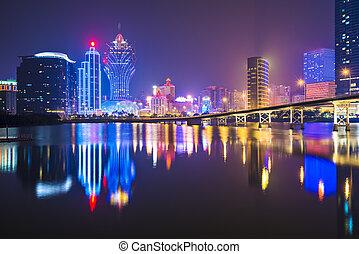 Macau, China skyline at the high rise casino resorts.