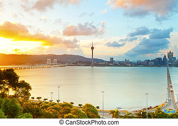 Macau city at sunset