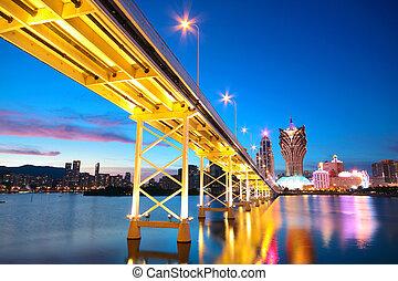 Macau cityscape of bridge and skyscraper Macao, Asia.