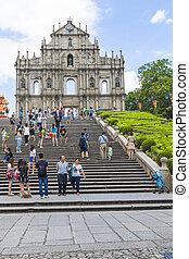 Macau day scene - MACAU: SEP 1 : Tourists visit the ruined ...
