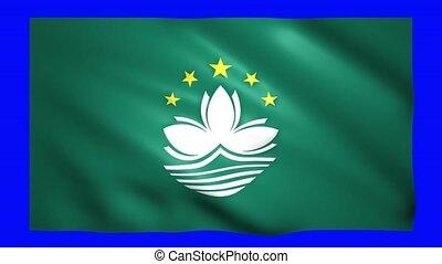 Macau flag on green screen for chroma key
