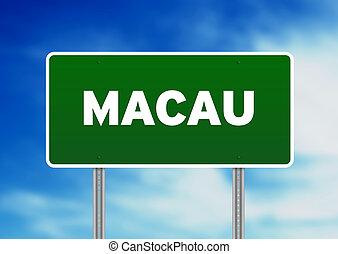 Macau Highway Sign - Green Macau highway sign on Cloud...