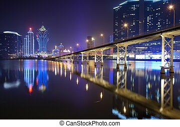 Macau - MACAU - OCTOBER 12: Skyline of Macau at Nam Van Lake...