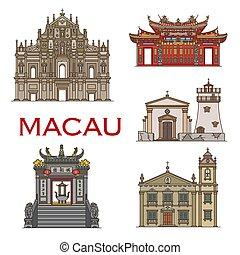 macau, repère, bâtiments, temples, architecture