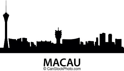 detailed skyline illustration of Macau, China