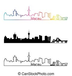 Macau skyline linear style with rainbow in editable vector...