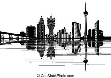 macau, skyline, -, schwarz weiß, abbildung