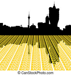 Macau Skyline with city text illustration