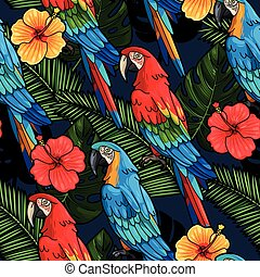 Macaw and hibiscus seamless - Macaw and hibiscus flowers...