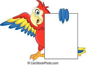Macaw bird with blank cartoon sign