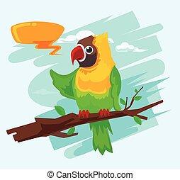 macaw, caricatura, papagaio