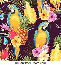 macaw, fleurs, seamless, ananas