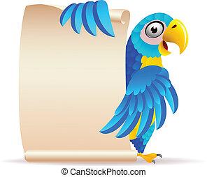 macaw, oiseau, à, rouleau, papier