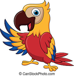 macaw, oiseau, dessin animé, onduler