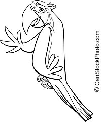 macaw parrot coloring page - Black and White Cartoon...