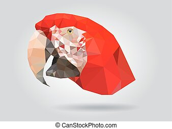 Macaw Parrot head vector isolatet geometric illustration -...