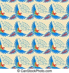 Macaw parrot seamless pattern, vector illustration isolated on beige background