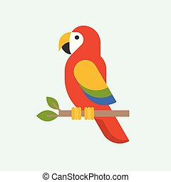 Macaw parrot vector, parrots, bird vector icon in flat style