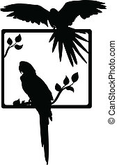 macaw, silhouette