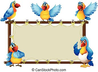 Macaw standing on wooden frame illustration