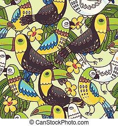 macaw, tukan, seamless