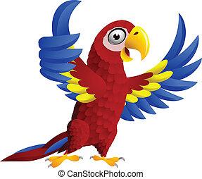 macaw, vogel, met, duim boven