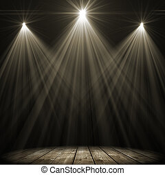 macchia, illuminazione, tre, palcoscenico