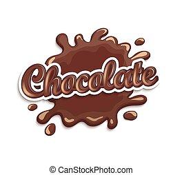 macchia, lettering., gocce, cioccolato
