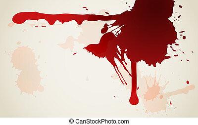 macchia, sfondo rosso, inchiostro