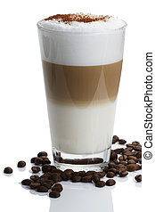 macchiato, café, latte, cacao, frijoles, polvo, plano de fondo, blanco