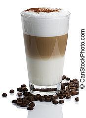macchiato, café, latte, cacao, haricots, poudre, fond, blanc