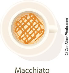 Macchiato icon, cartoon style - Macchiato icon. Cartoon...